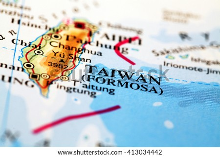 Taiwan on atlas world map