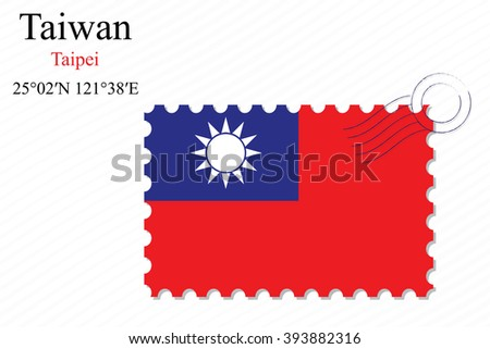 taiwan stamp design over stripy background, abstract art illustration, image contains transparency