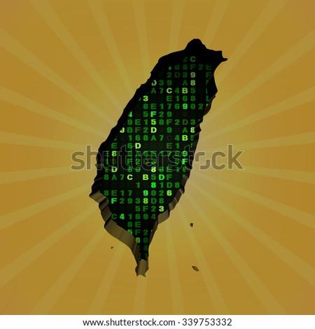 Taiwan sunburst map with hex code illustration - stock photo