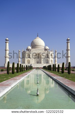 Taj mahal, A monument of love. A famous historical monument,  The Greatest White marble tomb in India, Agra, Uttar Pradesh
