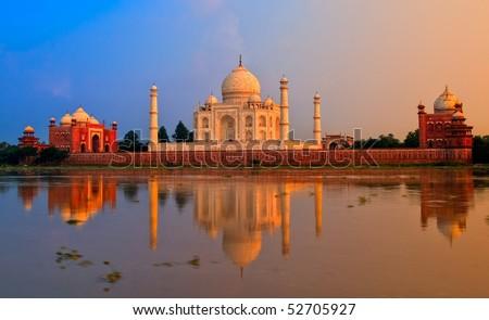 Taj Mahal, Agra, India, in the evening light - stock photo