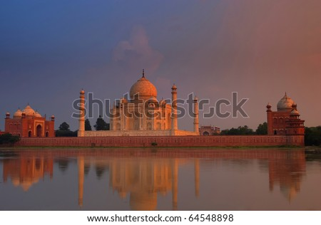 Taj Mahal at sunset - stock photo