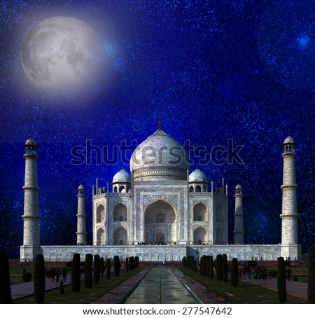 Taj Mahal by the light of the full moon in Agra, Uttar Pradesh, India. Elements of this image furnished by NASA.