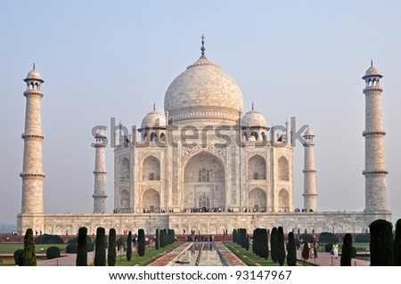 Taj Mahal during the morning time, Agra, India. - stock photo