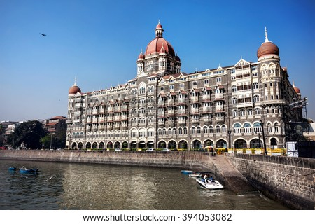Taj Mahal hotel famous building of touristic part in Mumbai, India - stock photo