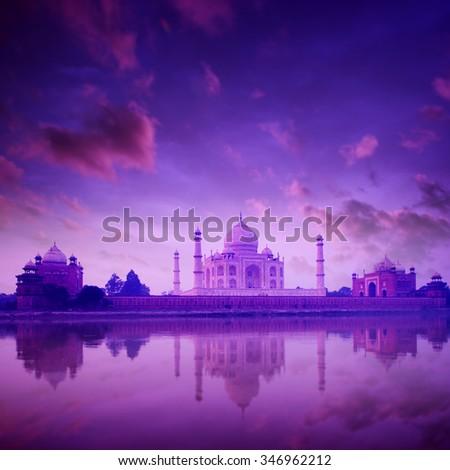 Taj Mahal in Agra, India on twilight - stock photo