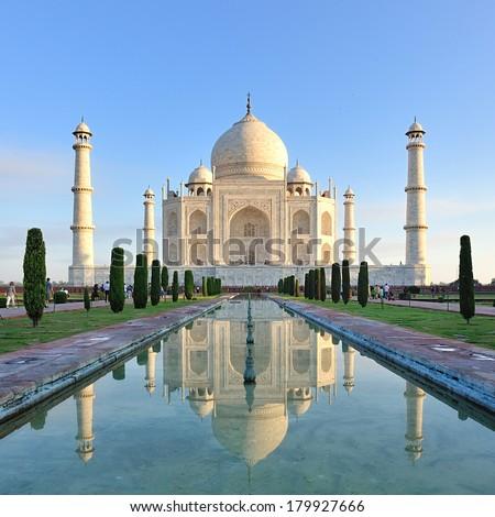 Taj Mahal in Agra Uttar Pradesh, India. - stock photo