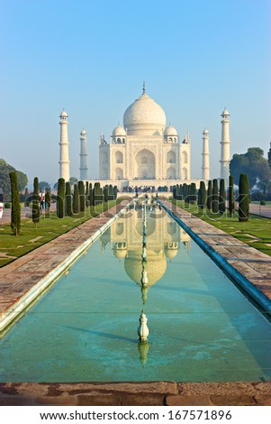 Taj Mahal in the morning. - stock photo