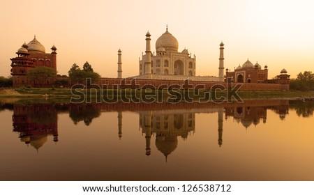 Taj Mahal reflected in the Yamuna river, Agra - India - stock photo
