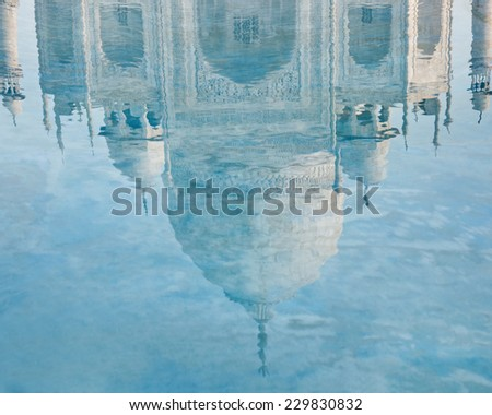 Taj Mahal reflection in water, Agra,  India  - stock photo