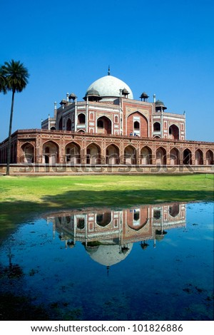 Taj Mahal's precursor, Humayun's Tomb, New Delhi, India - stock photo