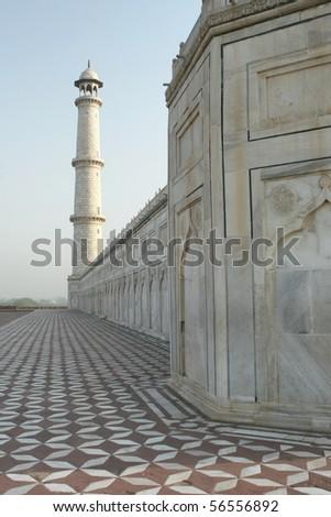Taj Mahal side view - stock photo
