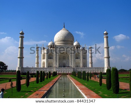 Taj Mahal, the amazing mausoleum in Agra (India), one of the highlights of worldwide architecture of all times. - stock photo
