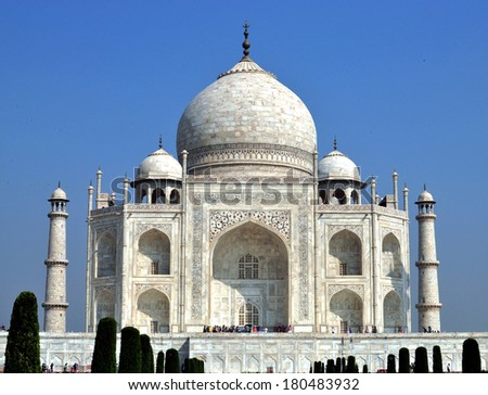 Taj Mahal - the mausoleum-mosque, located in Agra, India, on the banks of river Yamuna.  - stock photo