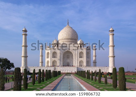 Taj Majal mausoleum in evening sunlight, vertical