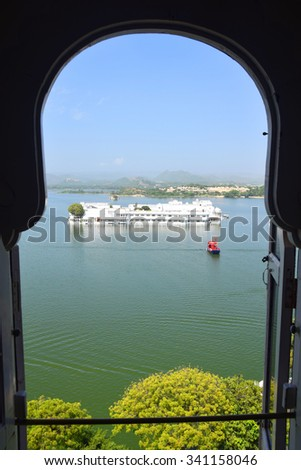Taj Palace Udaipur View from City Palace Window - stock photo