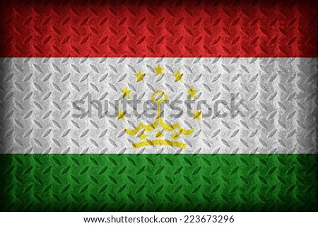 Tajikistan flag pattern on the diamond metal plate texture ,vintage style - stock photo