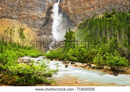 Takakkaw Falls waterfall in Yoho National Park, British Columbia, Canada - stock photo