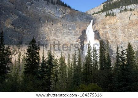 Takakkaw Falls - Yoho National Park in  Canada - stock photo