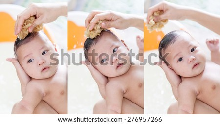 take a bath infant,asian baby