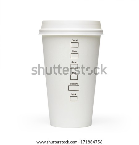 Take away coffee cup side view with check boxes isolated on white background including clipping path - stock photo