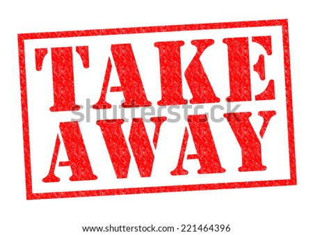 TAKE AWAY red Rubber Stamp over a white background. - stock photo