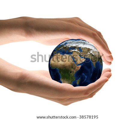Take care the earth concept. Human hand holding the world in hands.