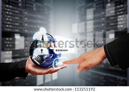 Take control the digital world with security password in data center room : Elements of this image furnished by NASA - stock photo