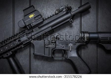 take down assult rifle - stock photo