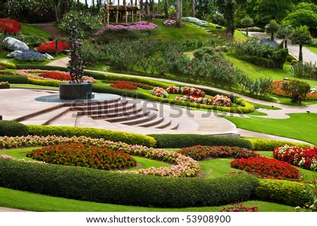 take from Mae Fah Luang Garden,locate on Doi Tung,Thailand - stock photo