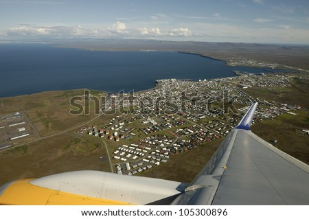 Take off from Keflavik airport, Iceland. - stock photo