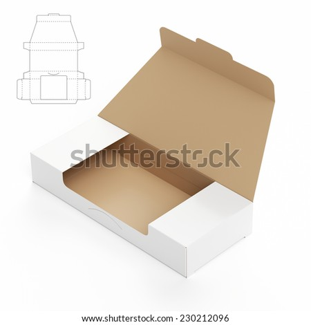 Take One Box with Die Cut Template - stock photo