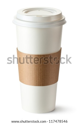Take-out coffee with cup holder. Isolated on a white. - stock photo