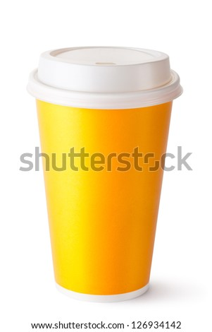 Take-out cup for hot drinks. Isolated on a white. - stock photo