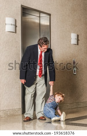 Take your toddler to work day - stock photo