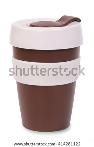 takeaway brown plastic cup isolated on white background - stock photo