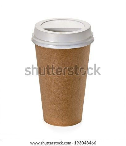 Takeaway coffee cup on white background including clipping path - stock photo