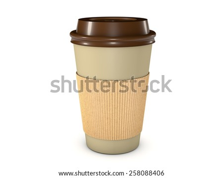 Takeaway coffee cup with lid isolated