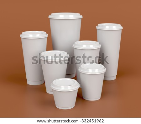 Takeaway coffee cups with different sizes - stock photo