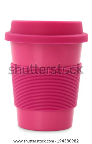 takeaway pink plastic cup isolated on white background  - stock photo