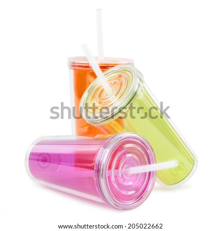 takeaway plastic cup isolated on white background - stock photo