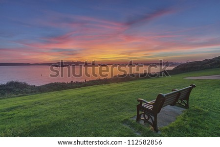 Taken from Jennycliff, Plymouth over looking Drakes island. - stock photo