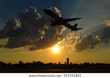 Takeoff - Aeroparque Jorge Newbery - Buenos Aires - Argentina - stock photo