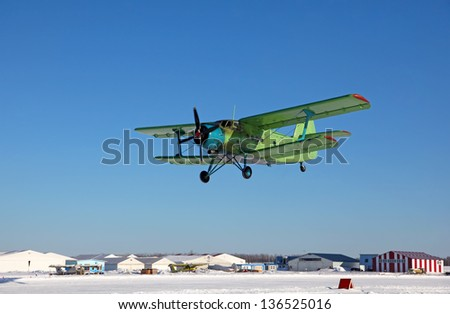 Takeoff  biplane an-2 - stock photo