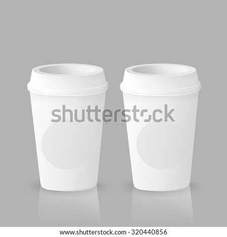 takeout coffee cup templates over grey background - stock photo