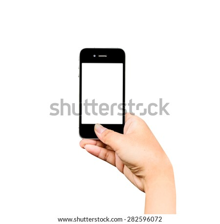 Taking photo with mobile phone on white background, Hand holding mobile smart phone with blank screen.