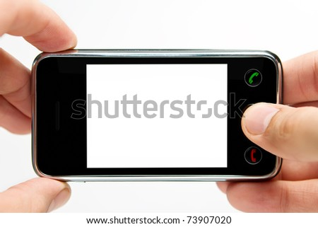 Taking picture with mobile, smart phone isolated on white background - stock photo