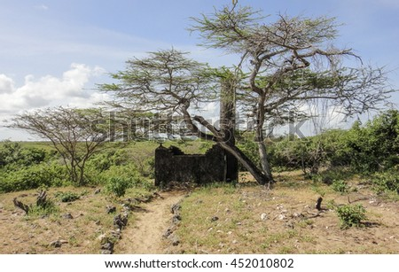 Takwa Pillar Tomb with an inscription 1681-1682. Medieval city ruins in Kenya near Lamu town. Indian ocean coast. 90 kilometers from the border with Somalia. Eastern Africa