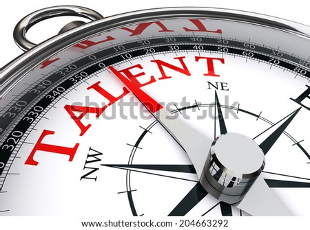 talent indicated by concept compass isolated on white background - stock photo