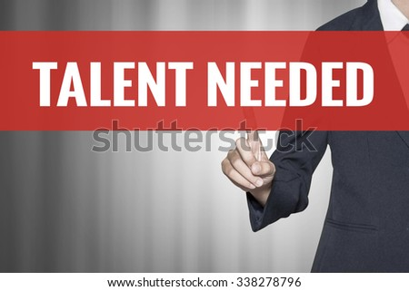 Talent Needed word on virtual screen push by business woman red tab - stock photo